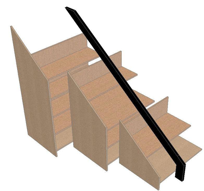 Mueble soluci n para bajo escalera la carpinteria de daniel for Muebles de madera para debajo de la escalera